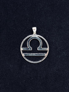 Zodiac, Libra Astrological Sign Pendant in 925 Sterling Silver