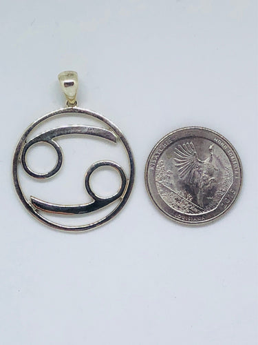 Zodiac, Cancer Astrological Sign Pendant in 925 Sterling Silver