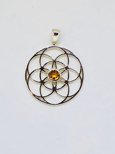 Sacred Geometry, Sterling Silver Seed of Life Pendant with Citrine Gem
