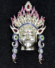 Load image into Gallery viewer, Sterling Silver Kali Pendant with Sapphires, Rubies, Pink tourmaline, Amethysts, Spinel, and Tsavorite (green garnet), Jai Kali-Maa