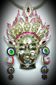 Sterling Silver Kali Pendant with Sapphires, Rubies, Pink tourmaline, Amethysts, Spinel, and Tsavorite (green garnet), Jai Kali-Maa