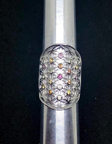 Sacred Geometry, Sterling Silver Flower of Life Ring  with bezel set mixed Sapphires