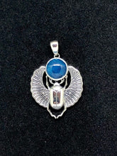 Load image into Gallery viewer, Sterling Silver Scarab Pendant with Apatite Cabochon