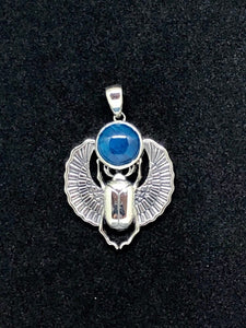 Sterling Silver Scarab Pendant with Apatite Cabochon