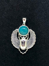 Load image into Gallery viewer, Sterling Silver Scarab Pendant with Chrysocolla Cabochon