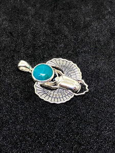 Sterling Silver Scarab Pendant with Chrysocolla Cabochon