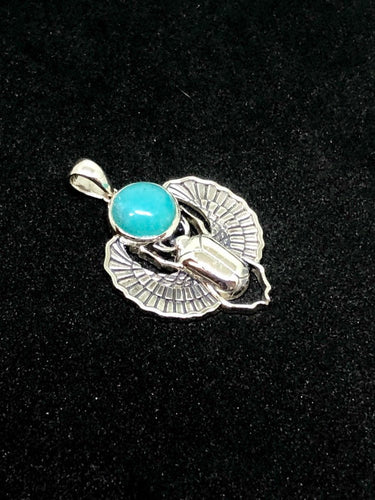 Sterling Silver Scarab Pendant with Amazonite Cabochon
