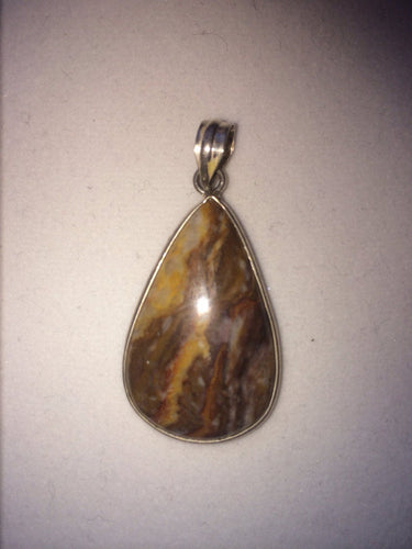 Jasper Cabochon Pendant set in 925 Sterling Silver,One of a Kind, OOAK