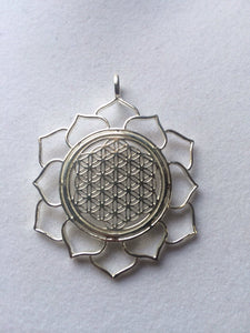 Sacred Geometry, Sterling Silver Flower of Life in Lotus Pendant