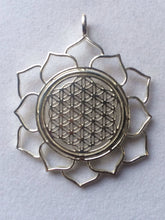 Load image into Gallery viewer, Sacred Geometry, Sterling Silver Flower of Life in Lotus Pendant