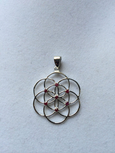 Sacred Geometry, Sterling Silver Seed of Life Pendant with Rubies