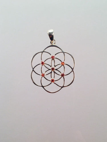 Sacred Geometry, Sterling Silver Seed of Life Pendant with Orange Sapphires