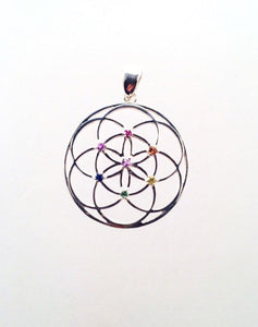 Sacred Geometry, Sterling Silver Seed of Life Pendant with Red, Orange, Yellow, Blue and Purple Sapphires and Tsavorite