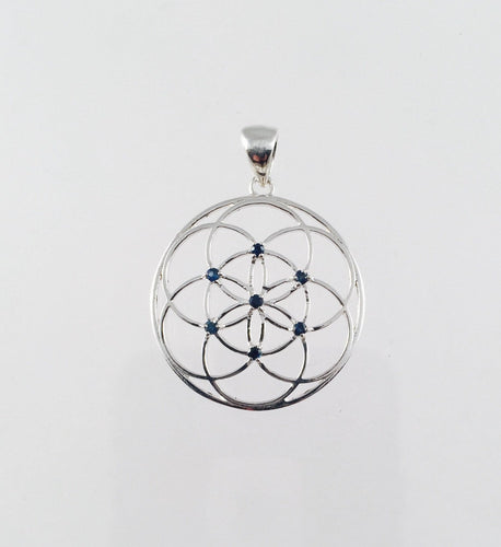 Sacred Geometry, Sterling Silver Seed of Life Pendant with Blue Sapphires