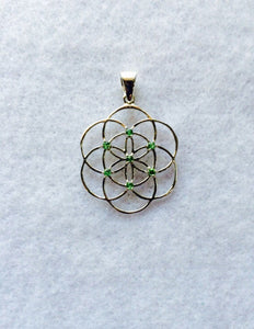 Sacred Geometry, Sterling Silver Seed of Life Pendant with Tsavorite (green garnet) Gems