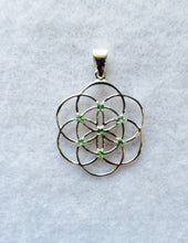 Load image into Gallery viewer, Sacred Geometry, Sterling Silver Seed of Life Pendant with Tsavorite (green garnet) Gems