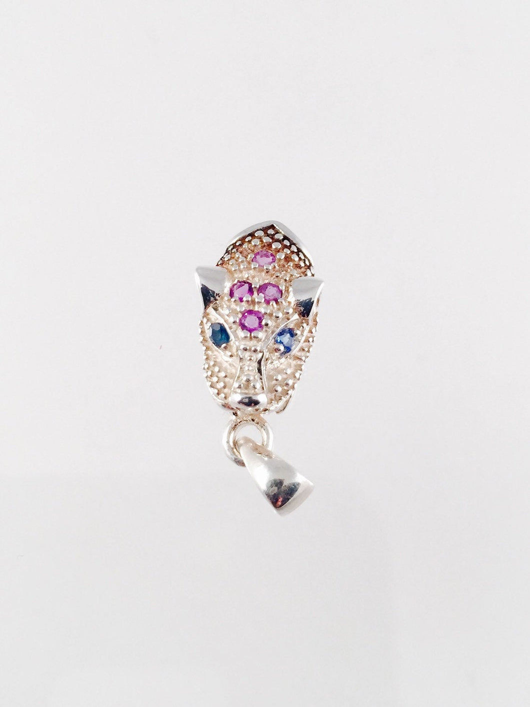 Sterling Silver Tiger Charm Pendant with Amethysts and Blue Sapphires