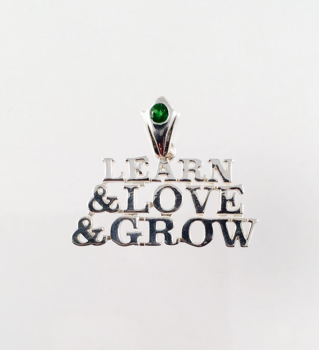 Grateful Dead, Sterling Silver Learn, Love & Grow Pendant with Custom Tsavorite (green garnet) Bail
