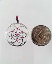 Load image into Gallery viewer, Sacred Geometry, Sterling Silver Seed of Life Pendant with Rubies and Custom Ruby Bail