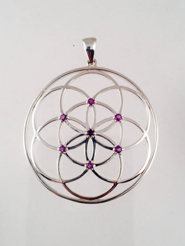 Sacred Geometry, Seed of Life Pendant with Amethysts made in 925 Sterling Silver  - Extra Large
