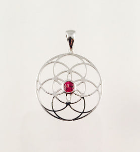 Sacred Geometry, Sterling Silver Seed of Life Pendant with Garnet Center Stone