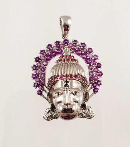Hanuman Pendant in Sterling Silver with Amethysts, Rhodolite Garnets & Blue Sapphires and/or Rubies, Lord Hanuman, Hanuman-ji