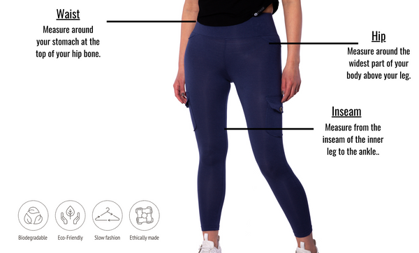 Bamboo Cargo Leggings - Atlantis Blue - Ethica Activewear