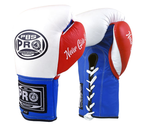 Pro Boxing® Official Pro Fight Gloves - White/Red/Blue