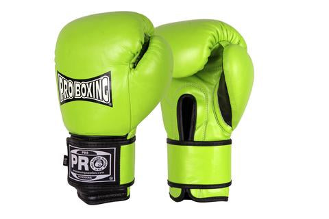 PRO BOXING® CLASSIC LEATHER TRAINING GLOVES - LIME GREEN/BLACK