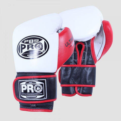 Pro Boxing® Ultimate Velcro Boxing Gloves – White/Black/Red