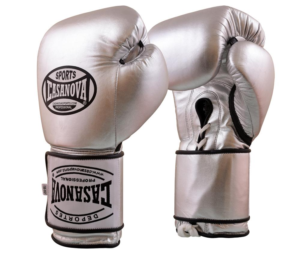 Casanova Boxing® Hybrid Boxing Gloves w/ Hook & Loop - Silver