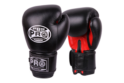 Pro Boxing® Leather Thai Gloves -  Black/Red