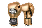 PRO BOXING® CLASSIC LEATHER VELCRO PRO TRAINING GLOVES - METALLIC GOLD