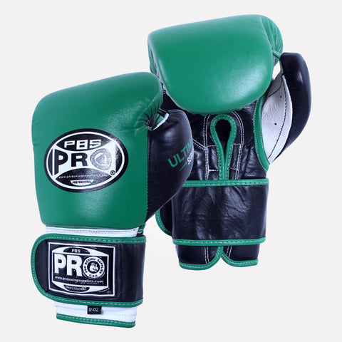 Pro Boxing® Ultimate Hook and Loop Boxing Gloves – Green/Black