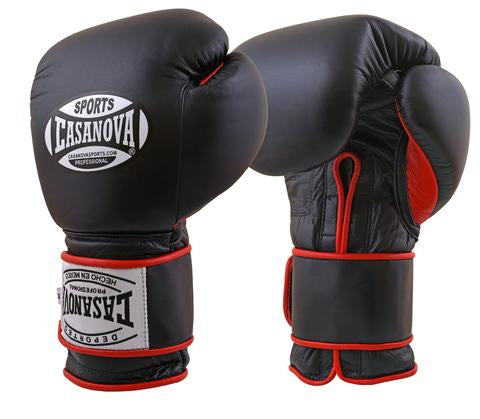 CASANOVA BOXING® VELCRO TRAINING GLOVES - BLACK/RED