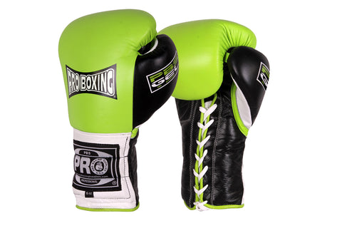 Pro Series Gel Lace Gloves - 16 OZ Green/Black