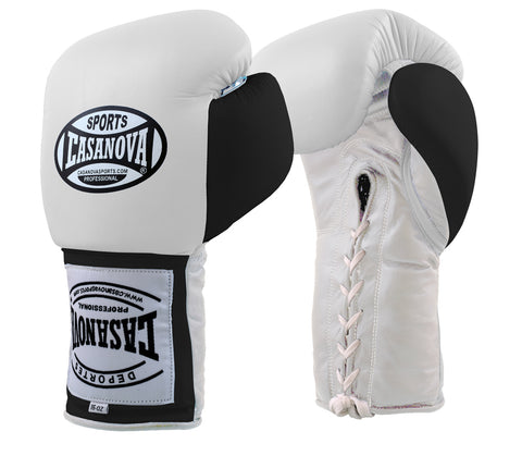 Casanova Boxing® Lace-up Training Gloves – White/Black Thumb