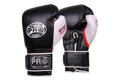 Pro Series Gel Velcro Gloves - 16 OZ Black/White/Red