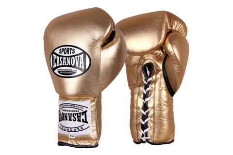 Casanova Boxing® Professional Lace Up Fight Gloves - Metallic Gold