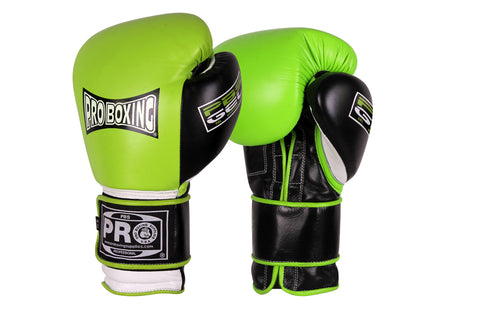 Pro Boxing® Series Gel Velcro Gloves - Green/White/Black