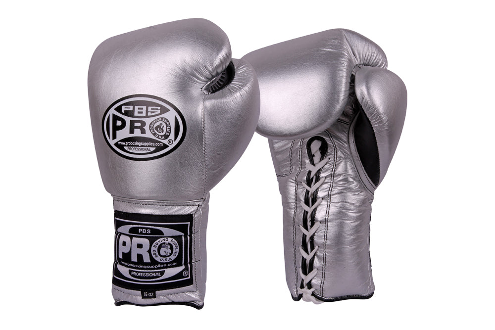 Pro Boxing® Series Classic Lace-Up Gloves - Silver