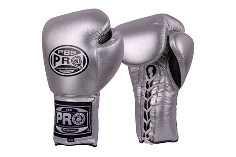 Pro Series Gel Lace Gloves - 16 OZ Silver Training