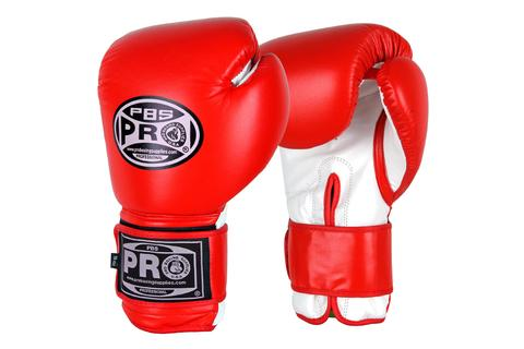 PRO BOXING® CLASSIC LEATHER TRAINING GLOVES - RED/WHITE