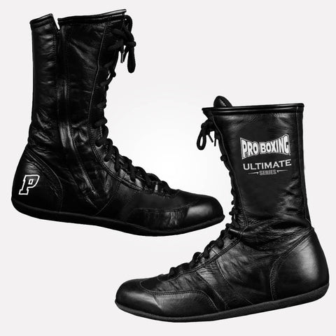 Pro Boxing® High Top Leather Shoes - Black