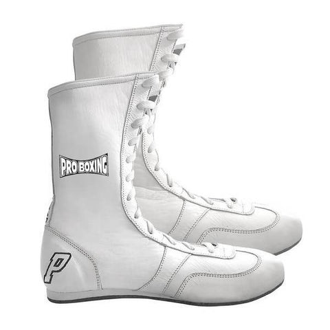 Pro Boxing® High Top Leather Shoes - White