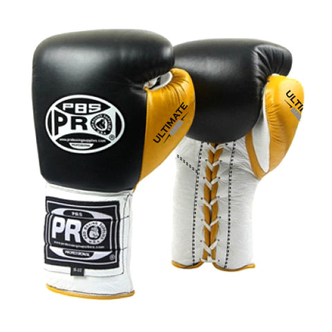 Pro Boxing® Ultimate Lace-Up Boxing Gloves – Black/Yellow