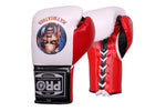 Pro Boxing® Floyd Mayweather Autograph Professional Lace-Up Gloves -  White/Red