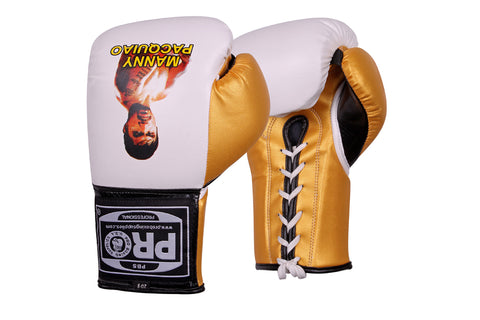 Pro Boxing® Manny Pacquiao Professional Lace-Up Gloves -  White/Yellow