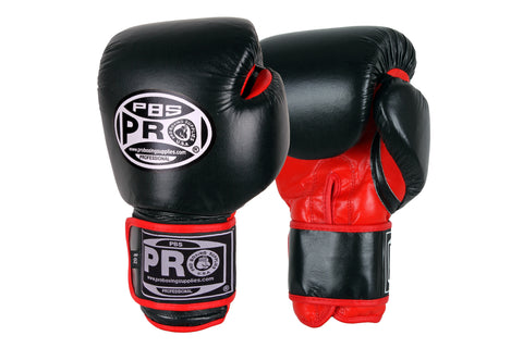 Pro Boxing Classic Leather Gloves - 8 OZ Red/Black