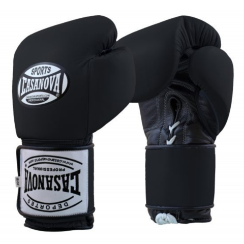 Casanova Boxing® Hybrid Boxing Gloves w/ Hook & Loop - Black